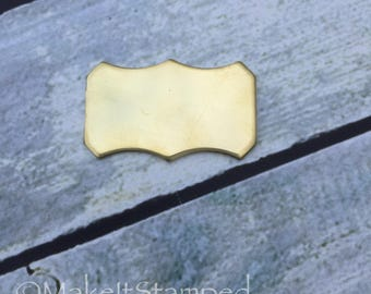 5 Brass Stamping Blanks, Square Scalloped Plaque Shape, Metal Jewelry, Hand Stamping Blanks, Metal Stamping Blanks