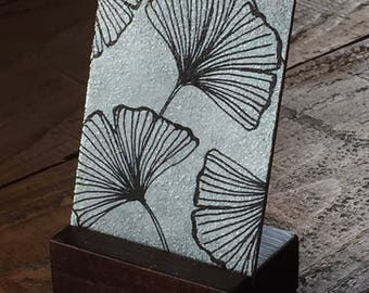 Ginko Leaves small metal artwork ACEO, ginkgo leaf silver print mini desk art card with base, ginkgo leaf drawing on metal art card