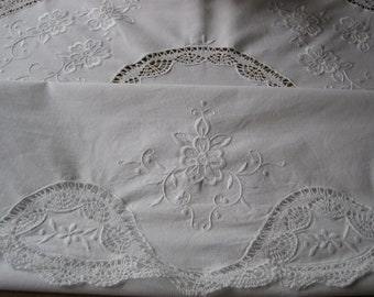 Large Round Vintage Lace Tablecloth and Eight Napkins Crochet, Hand-made Lace,