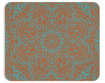 Mandala Teal And Orange Mousepad