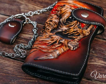 Reaper – Custom Carved Long Leather Wallet