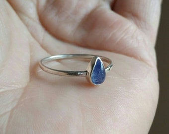 Tanzanite Blue Teardrop Ring - Solitaire Ring w Blue Tanzanite Teardrop - Sterling Silver Ring in Your Size - Gemstone Ring - Tanzanite Ring