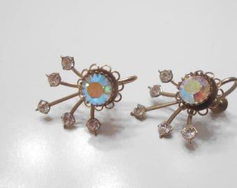 Vintage Gorgeous Aurora Borealis & Clear Rhinestone Earrings (1642) Screw Back Earrings