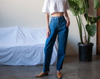 blue high waist jeans / baggy tapered / vtg 80s mom jeans / 28 w / 2359t / B9