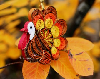 Unique Turkey Paper Quilling Ornament in a gift box for  Thanksgiving or Christmas home decor