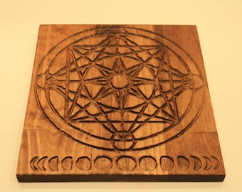 Carved Wooden Metatron's Cube Crystal Grid with Moon Phases