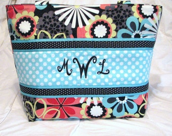 Personalized Diaper Bag Tote  Michael Miller Flower Shower Clementine . Weekender/XL size . monogrammed FREE . girl diaper bag tote