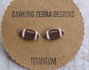 Football Stud Earrings | Football Studs | Sports Jewelry | Football Earrings | Football Jewelry | Titanium Stud Earrings | Hypoallergenic