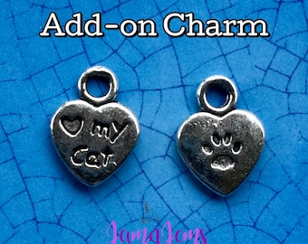 I Love My Cat Charm, Cat Lover Jewelry, Cat Charm Bracelet, Silver Charms, Bracelet Charms, Animal Charms, Gift for Pet Lover