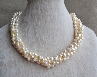 pearl necklace, baroque pearl necklace,four Strands  6-7mm ivory Freshwater Pearl Necklace,hand knotted pearl necklaces,cheap pearl necklace