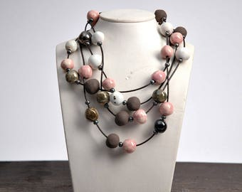 Made to order. 1 week  production. Long beaded necklace, multi strand beaded necklace, handmade beads, ceramic beads