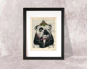 English bulldog print-funny bulldog print-bulldog on book page-dog print-bulldog dictionary print-gift for dog lover-by NATURA PICTA-NPDP066