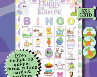EASTER 5x5 Bingo printable PDFs contain everything you need to play Bingo.
