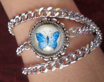 Blue butterfly-bracelet/round neck with glass cameo-Original watercolor print by Nahima
