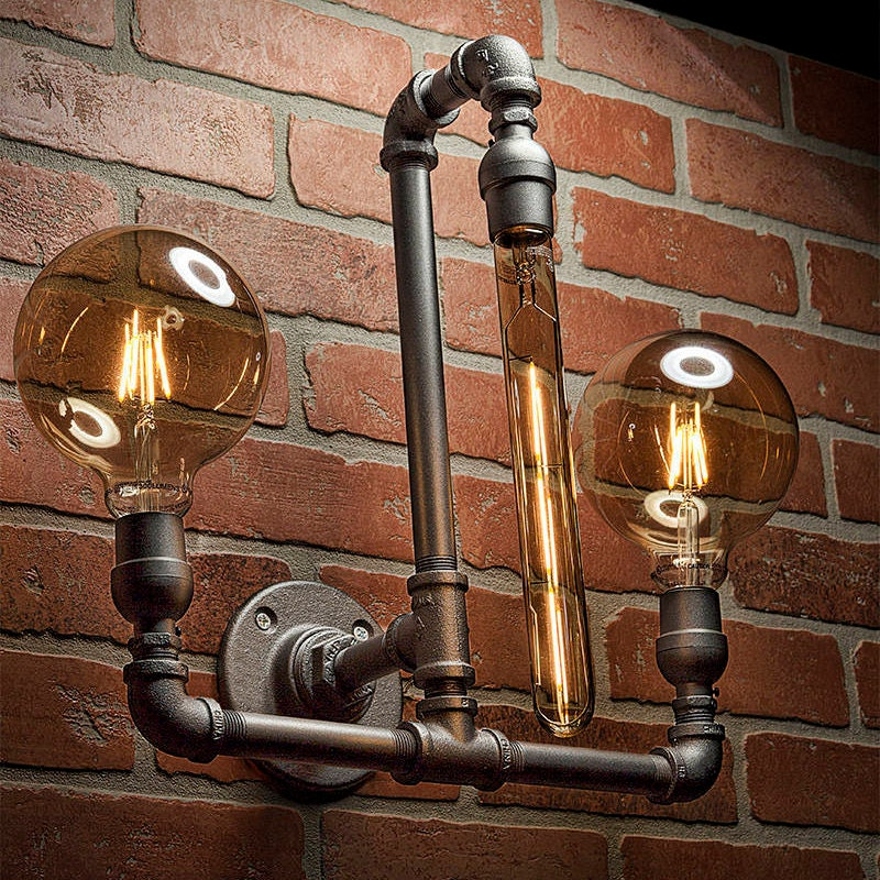 industrial lighting bathroom. Pipe Light - Lighting Sconce Steampunk Bathroom Industrial Wall FREE SHIPPING T
