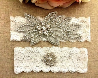 Rhinestone Wedding Garter, Crystal Garter Set, Vintage Garter, Lace Garter, Ivory Wedding, Bling Garter, Toss Garter, Bridal Garter Belt