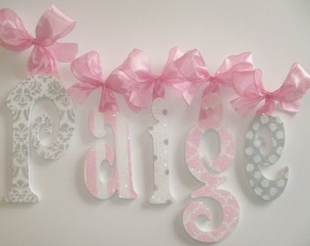 Wood Wall Letters - Kids- Nursery Decor - Childrens Wall Decor - Baby Girl Nursery GLITTER and SPARKLE