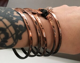 Ombre Copper Bangle Bracelet Set Copper Bangles Raw Gemstone Bracelets Rustic Jewelry DanielleRoseBean Bangle Bracelets Stacked Bracelets