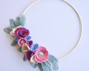 Ready to Ship Spring Felt Floral Gold Hoop Wreath / Flowers / Nursery / Bespoke / Home Decor / Macrame // Baby Shower // Mother's Day Gift