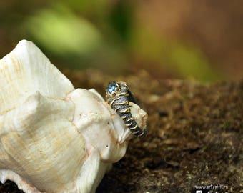 Eye of  Tiger. Ring with aquamarine. Silver, gold forging, aquamarine