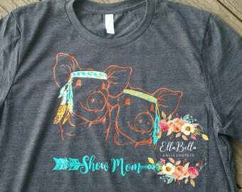 Adorable hippie pig shirt, show pig, ffa, ag, swine, hog, livestock show tshirt, show girl