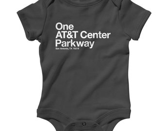 Baby San Antonio Basketball Stadium Romper - Infant One Piece, Creeper - NB 6m 12m 18m 24m - Texas, Arena, Fan, Sports, Gift - 4 Colors