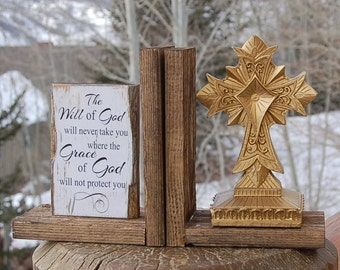 Delightful Christian Cross Bookends The Will And Grace Of God Gold Ghost Wood Ghost  Town Rustic