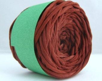 T Shirt Yarn Hand Dyed- Cocoa Brown, Jersey Yarn, Brown Yarn, 60 yards, Cotton Yarn, Jersey Yarn