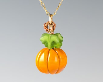 Glass Pumpkin Necklace on your choice of metals, Handmade Realistic Glass Lampwork Bead. Halloween, Thanksgiving, Fall, Autumn