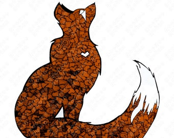 Red Fox (Vulpes vulpes) Digital Illustration, Full Color Print, Line Design, Multiple Sizes Available