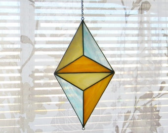 Geometric Stained Glass Suncatcher in Turquoise, Tan, and Cream