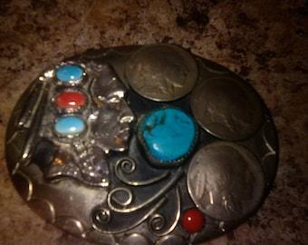 OLD PAWN belt buckle. Native American. Red Coral. Turquoise. Indian Head Nickels. Mens. Navajo. Vintage.