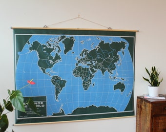 Original Pull Down School Map of CANADA - The WORLD Climate 1997 / 1997 school wall map mute original the Canada and the world