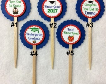 ANY YEAR Set Of 12 Graduation Kindergarten Graduation Cupcake Toppers (Your Choice Of Any 12)