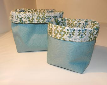 Set of 2 storage baskets / planters / reversible and liberty fabric coated tidy