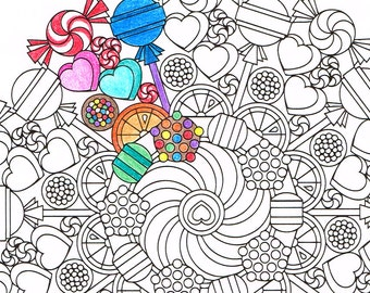 Mandala Coloring Page - Round of Sweets - printable coloring for adults and big kids - get well soon gift - rainy day relaxation activity