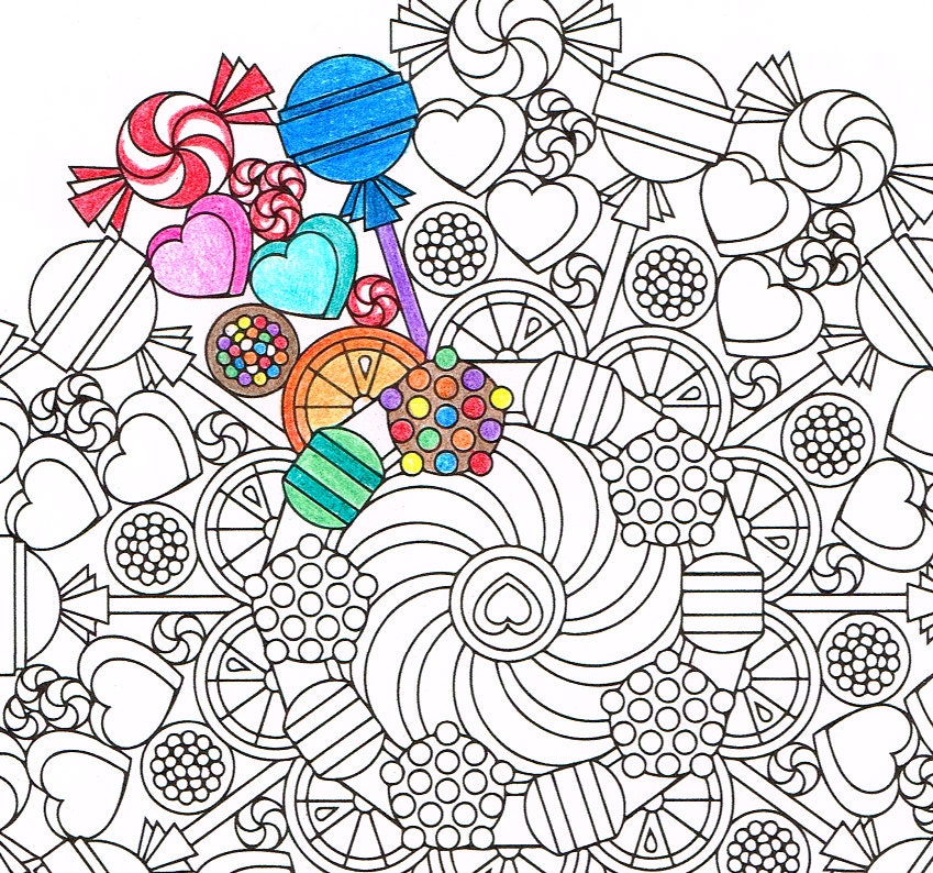 Big Kid Coloring Pages Mandala Coloring Page Round Of Sweets Printable Coloring