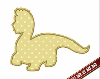 Dinosaur embroidery Applique design. Machine embroidery file Dragon. Digital applique no fill. Instant Applique Download Easy embroidery 4x4