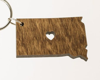 South Dakota Wooden Keychain - SD State Keychain - Wooden South Dakota Carved Key Ring - Wooden SD Charm