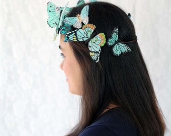 Turquoise Blue Butterfly Crown - aquamarine, princess, bride, something blue, it's a boy