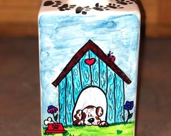 "Custom hand painted vase- ""dog theme"""