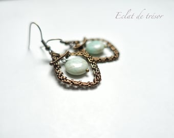 Earrings Shaë wire weaving, amazonite gemstone