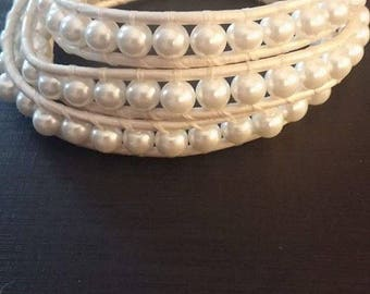 White pearl bead leather wrap bracelet