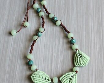 Handmade necklace-Necklace Handmade in Italy-Macrame Brown cotton yarn and gemstone swarovski green-leaves macrame.