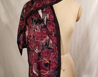 Vintage scarf,  roses, butterflies,  Sari, signed scarf