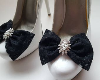 Lace Shoe Clips, Pearl Rhinestone Shoe Clips, Wedding Shoe CLips, Bridal Shoe Clips for Wedding Shoes, Bridal Shoes, Accessories, Clips