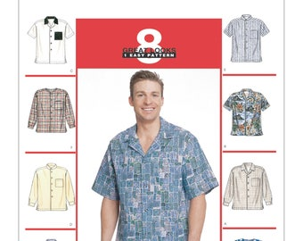McCalls Sewing Pattern 2149, Mens Button Down Shirt, Hawaiian Shirt, New Uncut Pattern