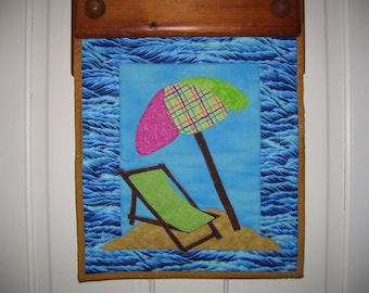 Beach quilt with beach chair and umbrella machine appliqued and quilted-summer quilt-summer decor-beach decor