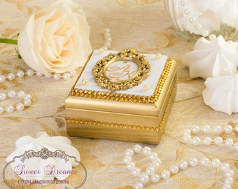 Gold ring box, Wedding ring box, Personalized ring box, Ring Bearer Box, Wood box, Gold ring bearer box, Ring bearer box