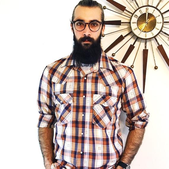 70s Levis shirt, Vintage western shirt, Pearl Snap shirt, LEVIS Western Plaid, vintage levis shirt, Long Sleeve plaid, 1970s Men's western,